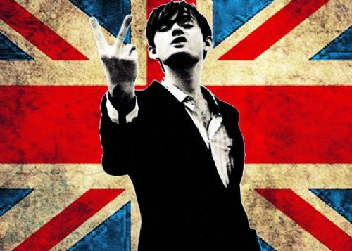 JARVIS COCKER - PULP - UK FLAG BLEACHED canvas print - self adhesive poster - photo print